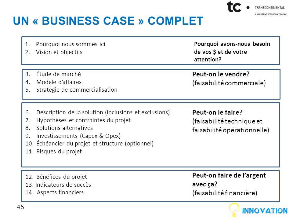 Un « business case » complet