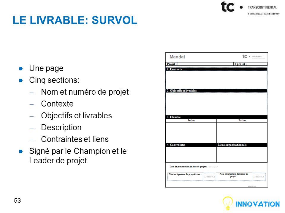 Le livrable: survol Une page Cinq sections: Nom et numéro de projet