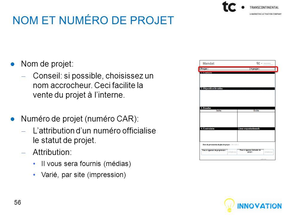 Nom et numéro de projet Nom de projet: