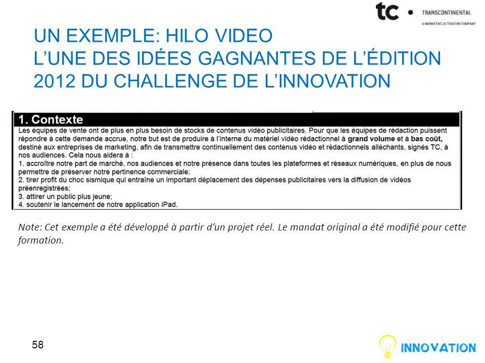 Un Exemple: HiLo Video l'une des idées gagnantes de l'édition 2012 du Challenge de l'innovation