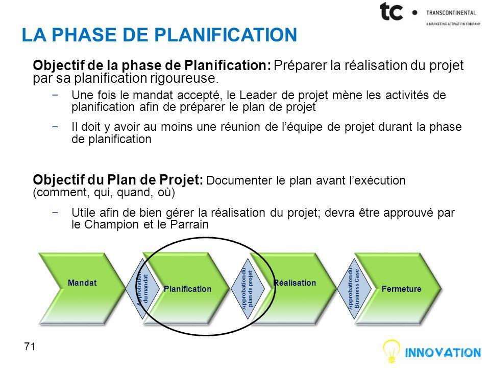 La phase de planification