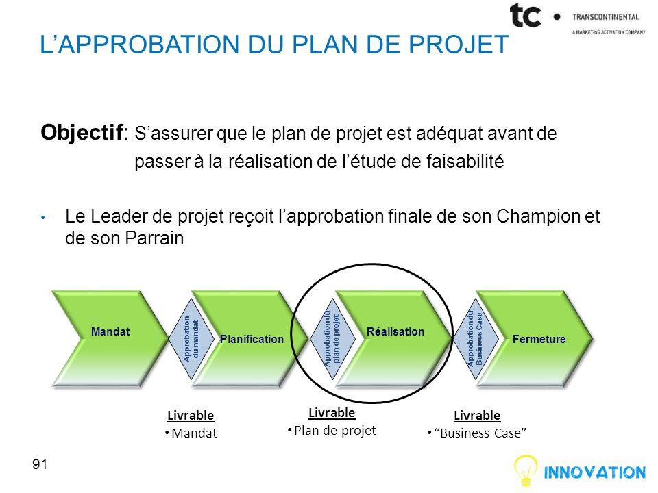 L'approbation du plan de projet