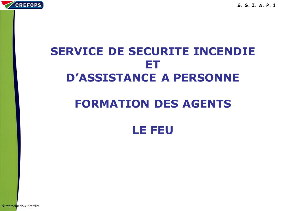 SERVICE DE SECURITE INCENDIE ET D'ASSISTANCE A PERSONNE FORMATION DES AGENTS LE FEU