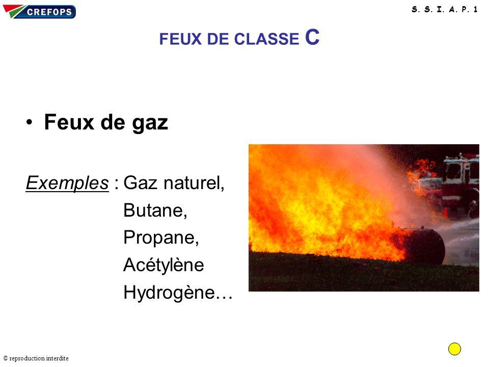 Feux de gaz Exemples : Gaz naturel, Butane, Propane, Acétylène