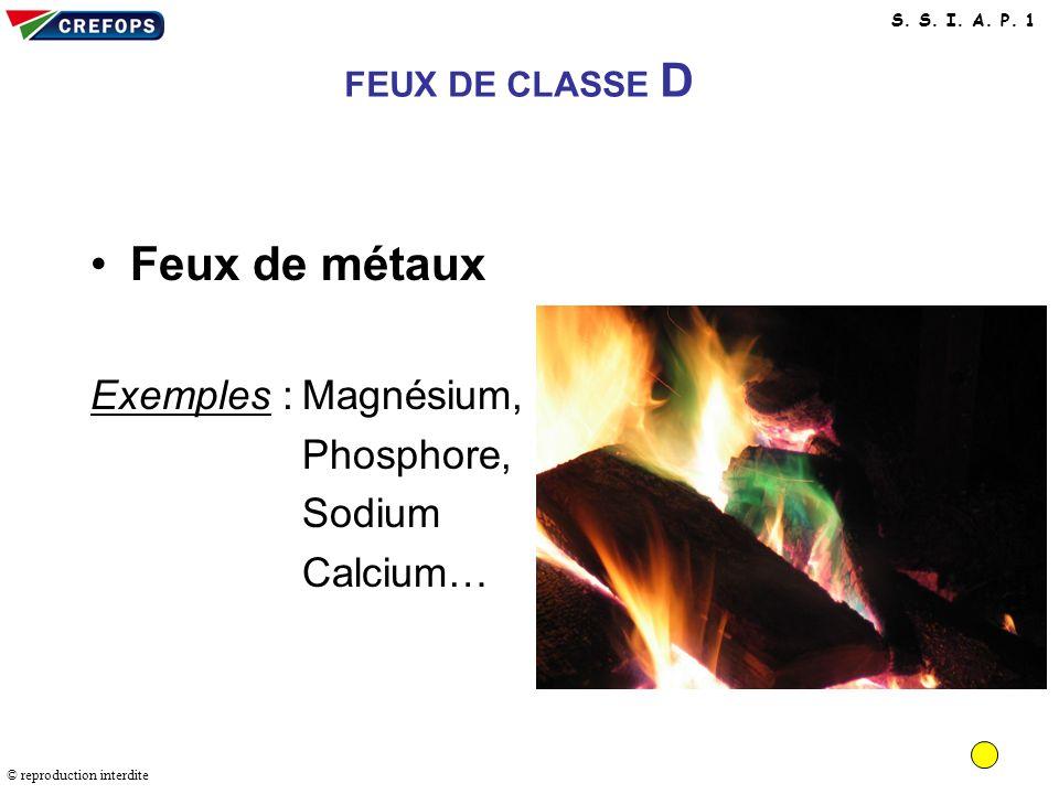 Feux de métaux Exemples : Magnésium, Phosphore, Sodium Calcium…