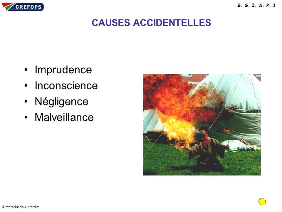 Imprudence Inconscience Négligence Malveillance CAUSES ACCIDENTELLES