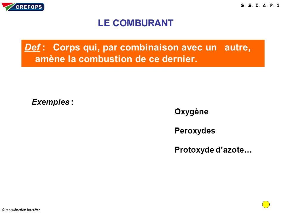 COMBURANT LE COMBURANT. Def : Corps qui, par combinaison avec un autre, amène la combustion de ce dernier.