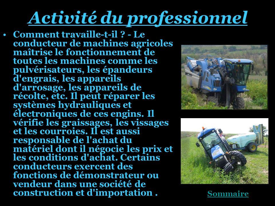 Activité du professionnel
