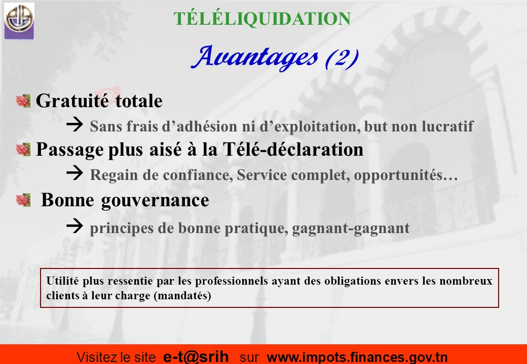 Visitez le site e-t@srih sur www.impots.finances.gov.tn