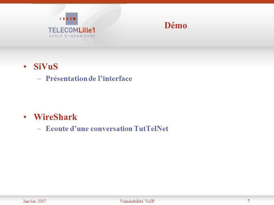 Démo SiVuS WireShark Présentation de l'interface