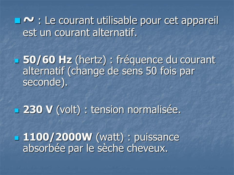 ~ : Le courant utilisable pour cet appareil est un courant alternatif.