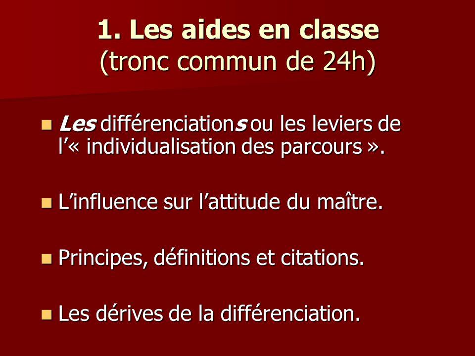 1. Les aides en classe (tronc commun de 24h)
