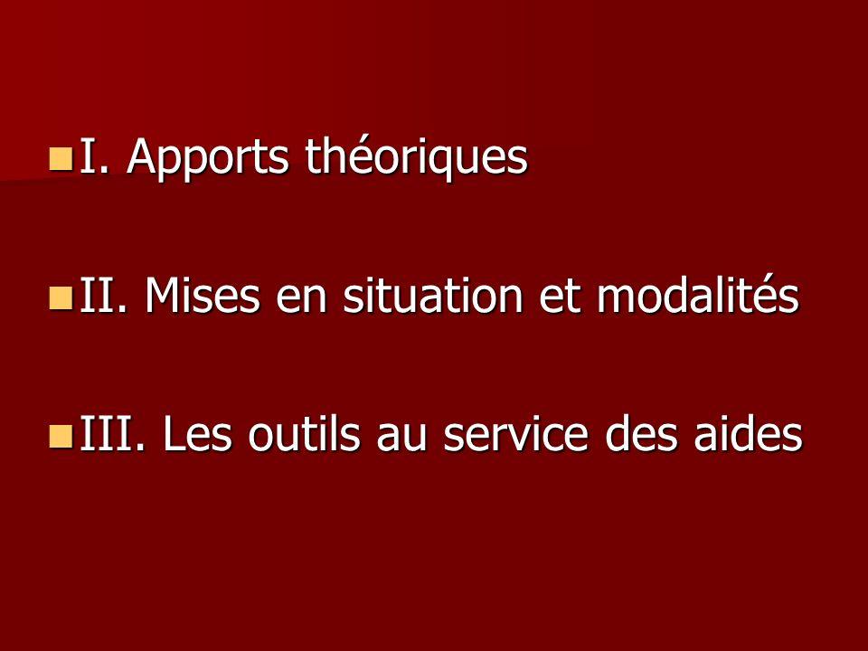 I. Apports théoriques II. Mises en situation et modalités III. Les outils au service des aides