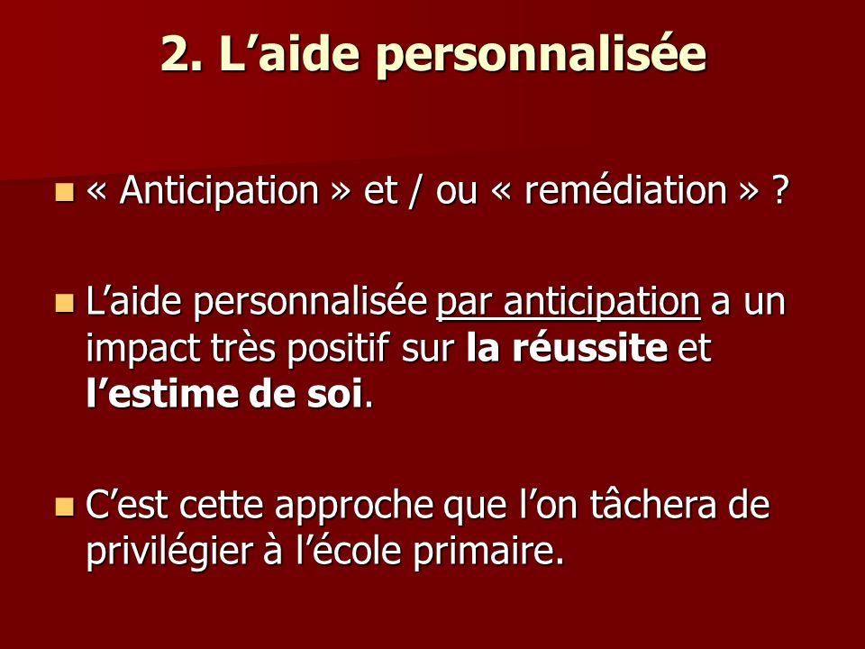 2. L'aide personnalisée « Anticipation » et / ou « remédiation »