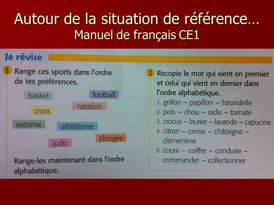 Autour de la situation de référence… Manuel de français CE1