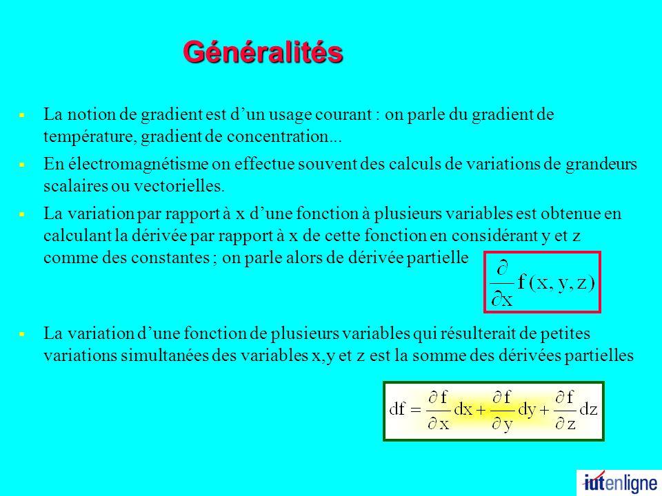 31/03/2017 Généralités. La notion de gradient est d'un usage courant : on parle du gradient de température, gradient de concentration...