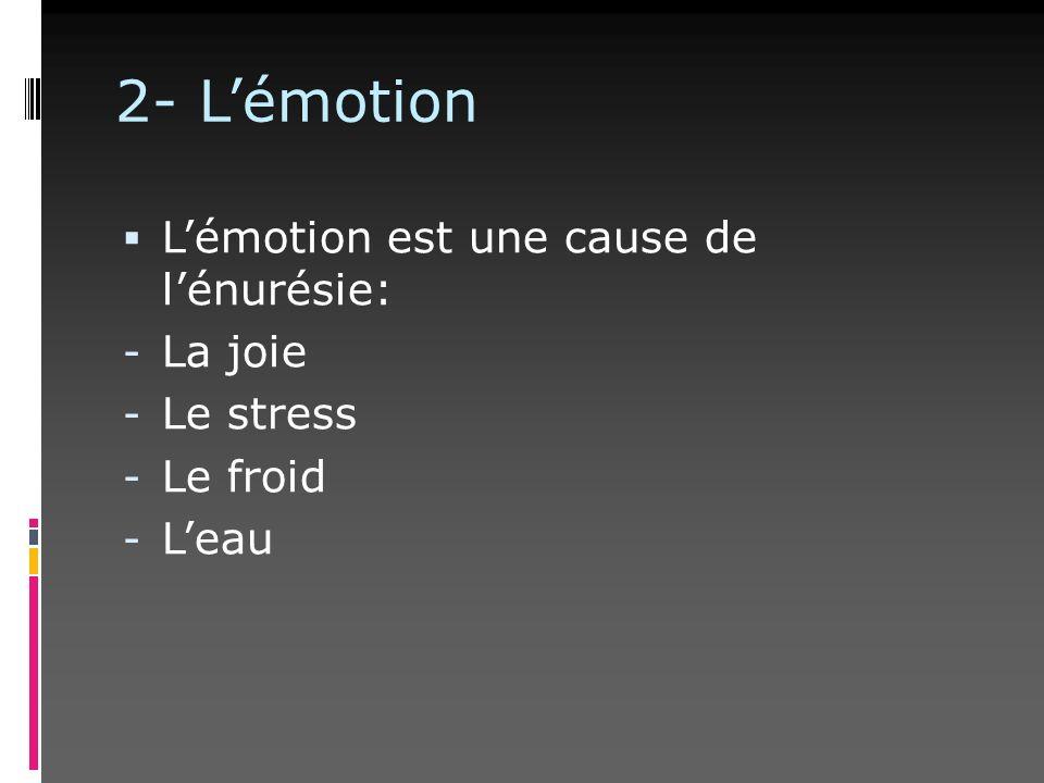 2- L'émotion L'émotion est une cause de l'énurésie: La joie Le stress