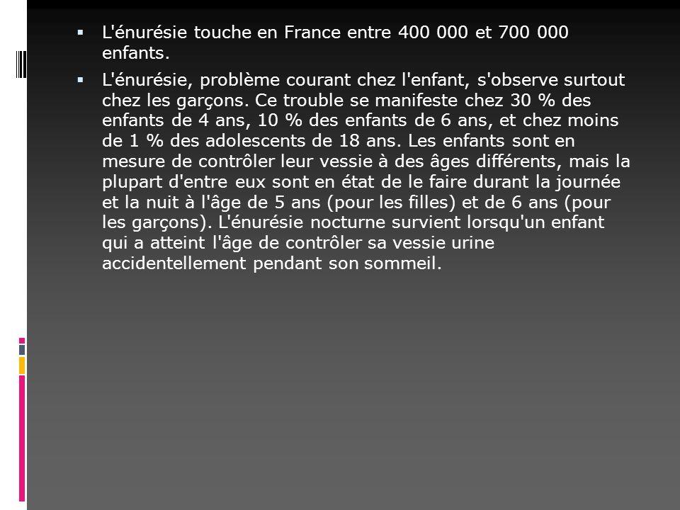 L énurésie touche en France entre 400 000 et 700 000 enfants.