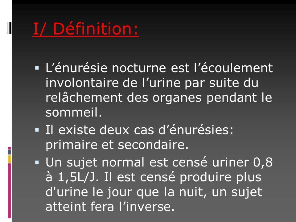 I/ Définition: L'énurésie nocturne est l'écoulement involontaire de l'urine par suite du relâchement des organes pendant le sommeil.