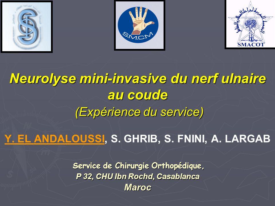 Neurolyse mini-invasive du nerf ulnaire au coude (Expérience du service) Y.