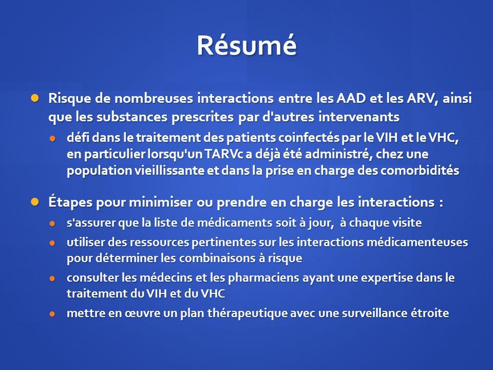 Résumé Risque de nombreuses interactions entre les AAD et les ARV, ainsi que les substances prescrites par d autres intervenants.