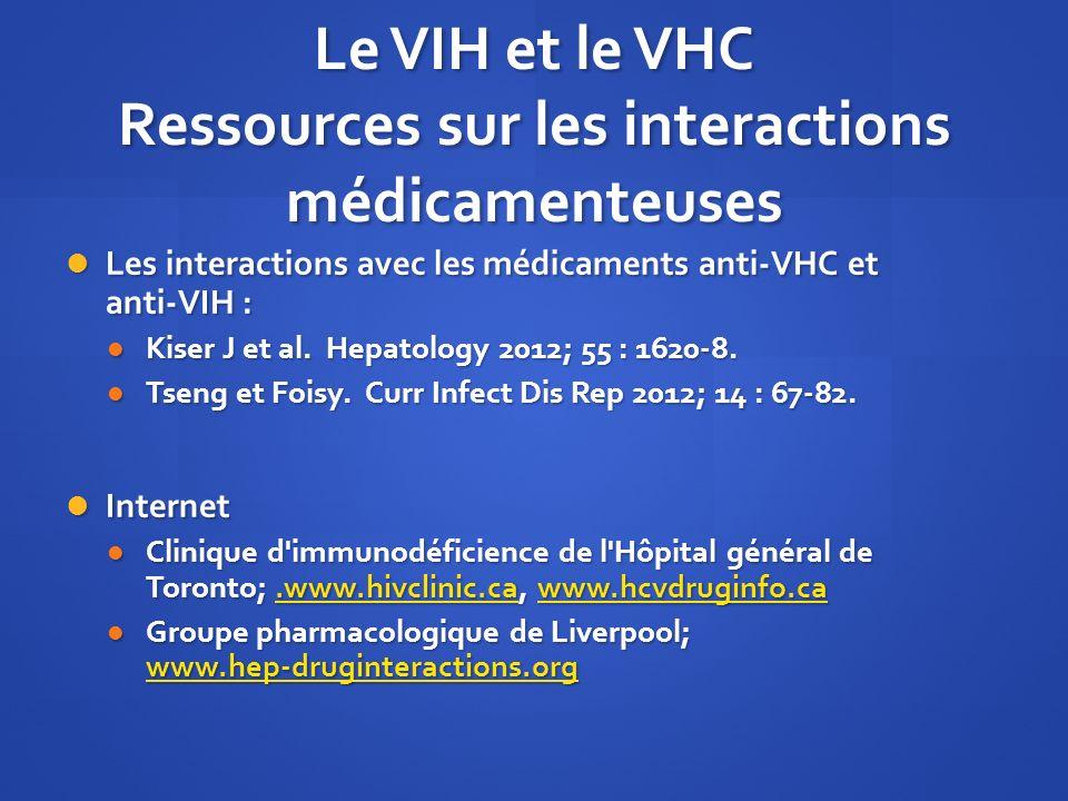Le VIH et le VHC Ressources sur les interactions médicamenteuses