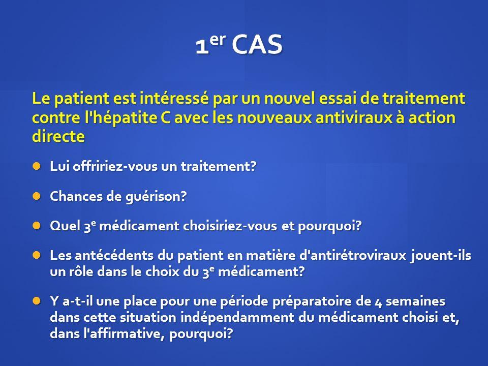 1er CAS Le patient est intéressé par un nouvel essai de traitement contre l hépatite C avec les nouveaux antiviraux à action directe.