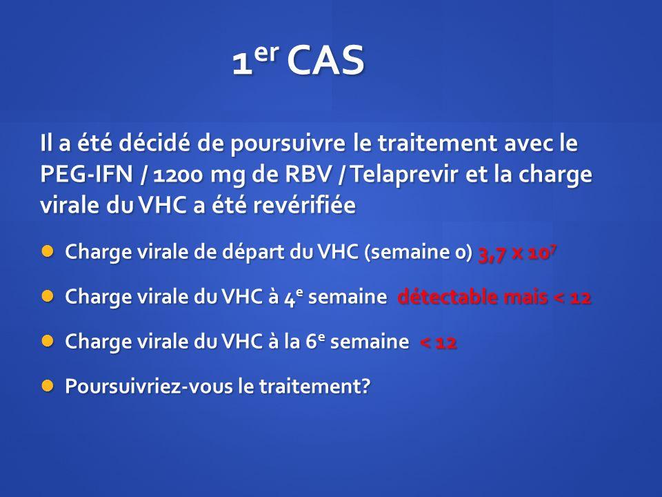1er CAS Il a été décidé de poursuivre le traitement avec le PEG-IFN / 1200 mg de RBV / Telaprevir et la charge virale du VHC a été revérifiée.