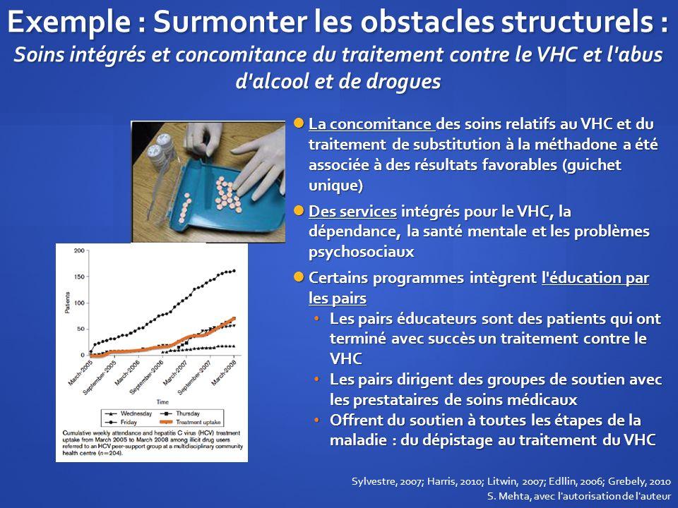 Exemple : Surmonter les obstacles structurels : Soins intégrés et concomitance du traitement contre le VHC et l abus d alcool et de drogues