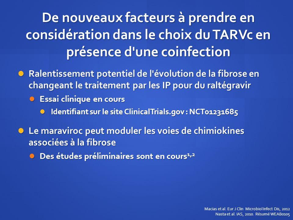 De nouveaux facteurs à prendre en considération dans le choix du TARVc en présence d une coinfection
