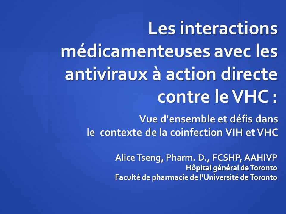 Les interactions médicamenteuses avec les antiviraux à action directe contre le VHC :