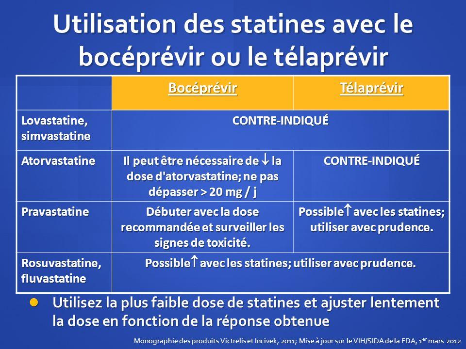 Utilisation des statines avec le bocéprévir ou le télaprévir