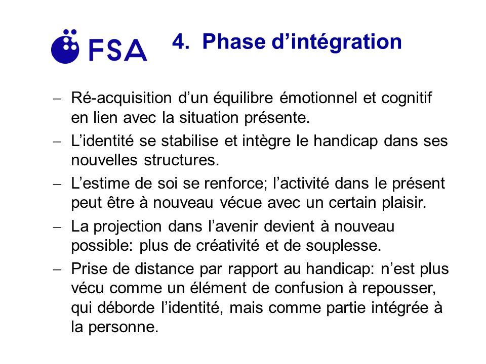 4. Phase d'intégration Ré-acquisition d'un équilibre émotionnel et cognitif en lien avec la situation présente.