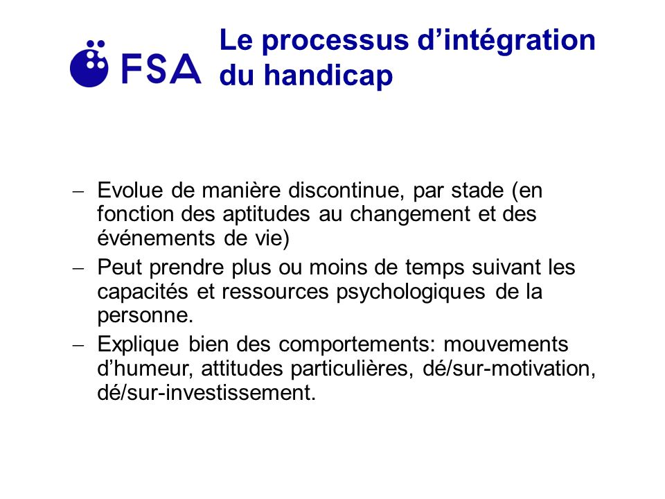 Le processus d'intégration du handicap