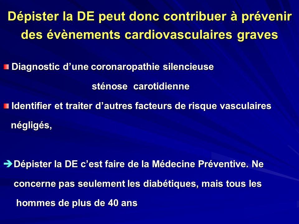 Dépister la DE peut donc contribuer à prévenir des évènements cardiovasculaires graves