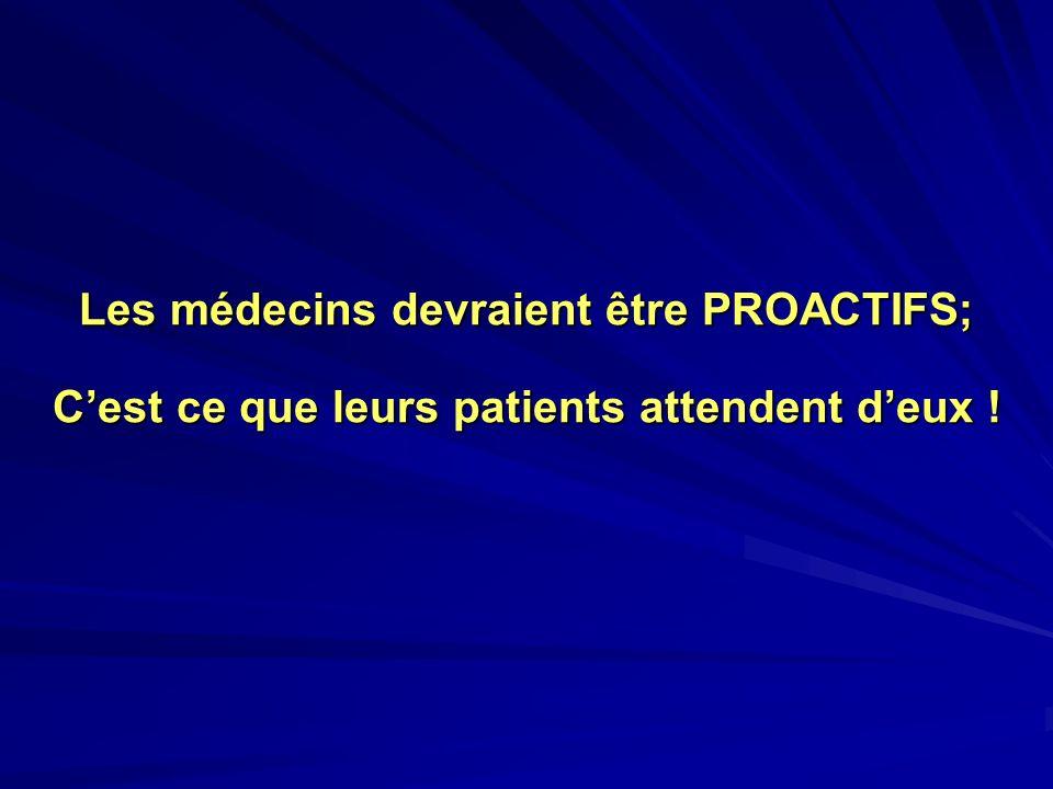 Les médecins devraient être PROACTIFS; C'est ce que leurs patients attendent d'eux !