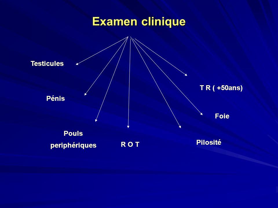 Examen clinique Testicules T R ( +50ans) Pénis Foie