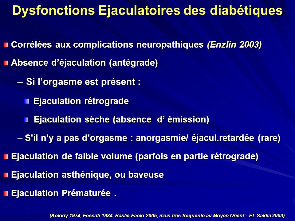 Dysfonctions Ejaculatoires des diabétiques