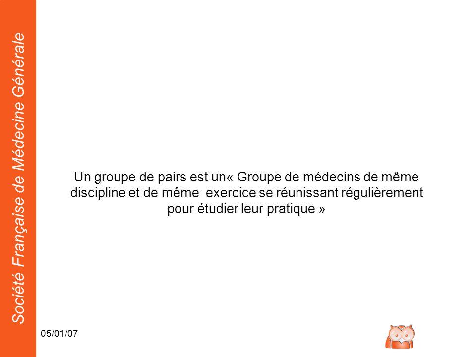 Un groupe de pairs est un« Groupe de médecins de même discipline et de même exercice se réunissant régulièrement pour étudier leur pratique »