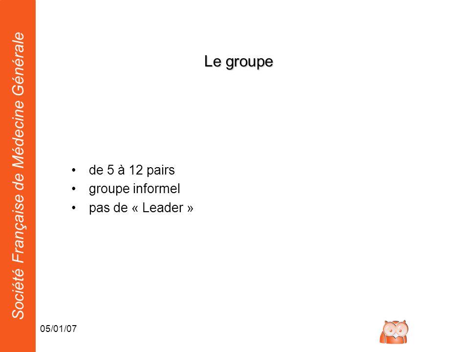 Le groupe de 5 à 12 pairs groupe informel pas de « Leader » 05/01/07