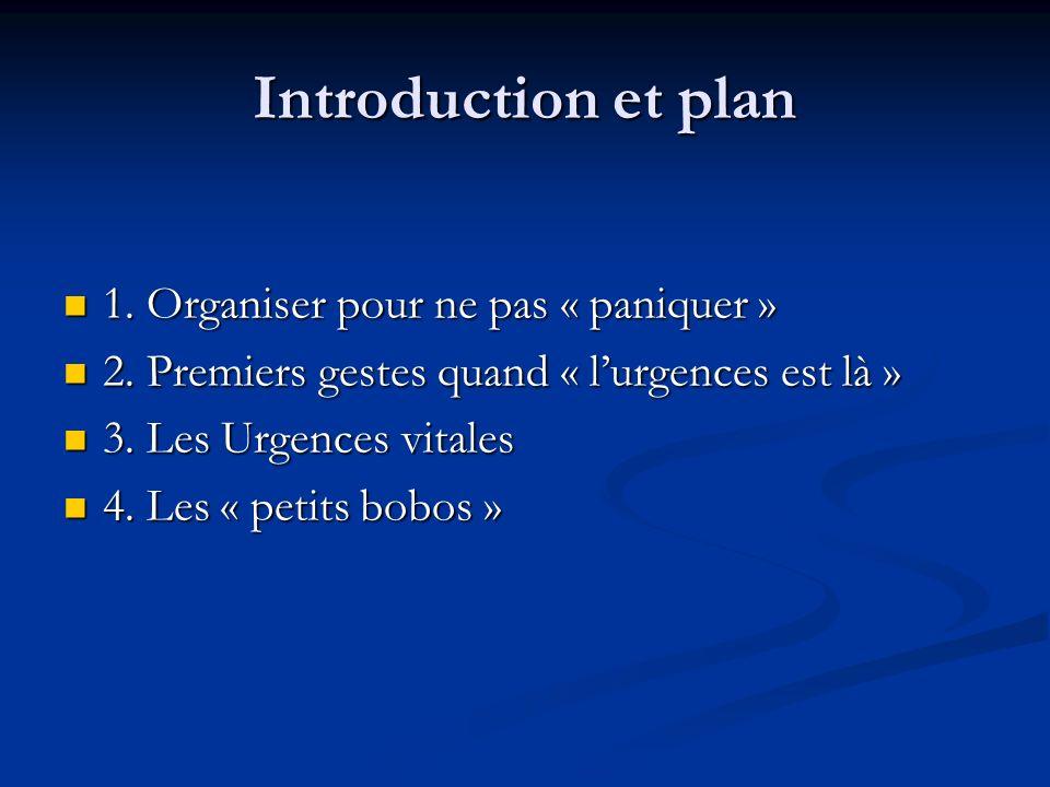 Introduction et plan 1. Organiser pour ne pas « paniquer »