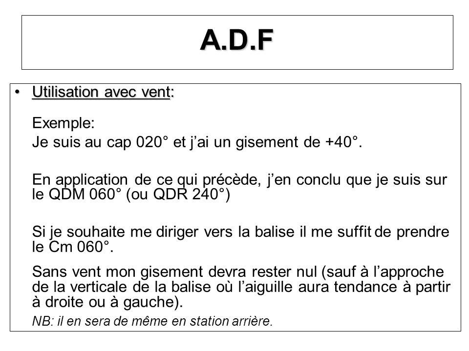 A.D.F Utilisation avec vent: Exemple: