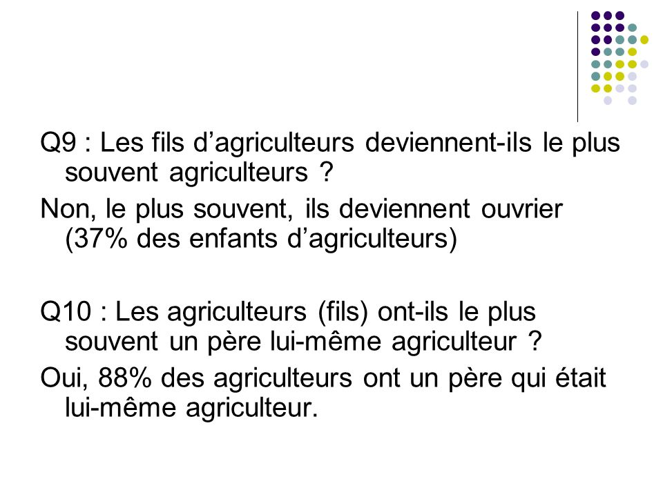 Q9 : Les fils d'agriculteurs deviennent-ils le plus souvent agriculteurs