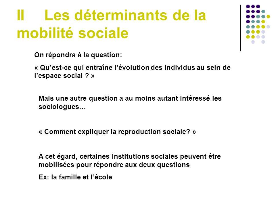 II Les déterminants de la mobilité sociale