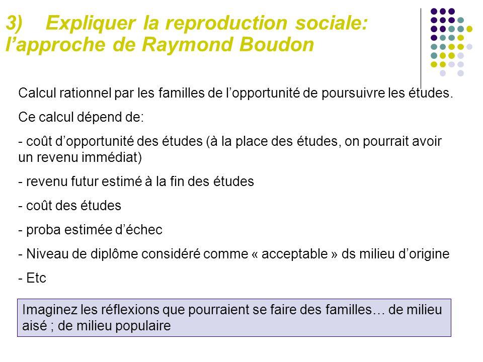 3) Expliquer la reproduction sociale: l'approche de Raymond Boudon