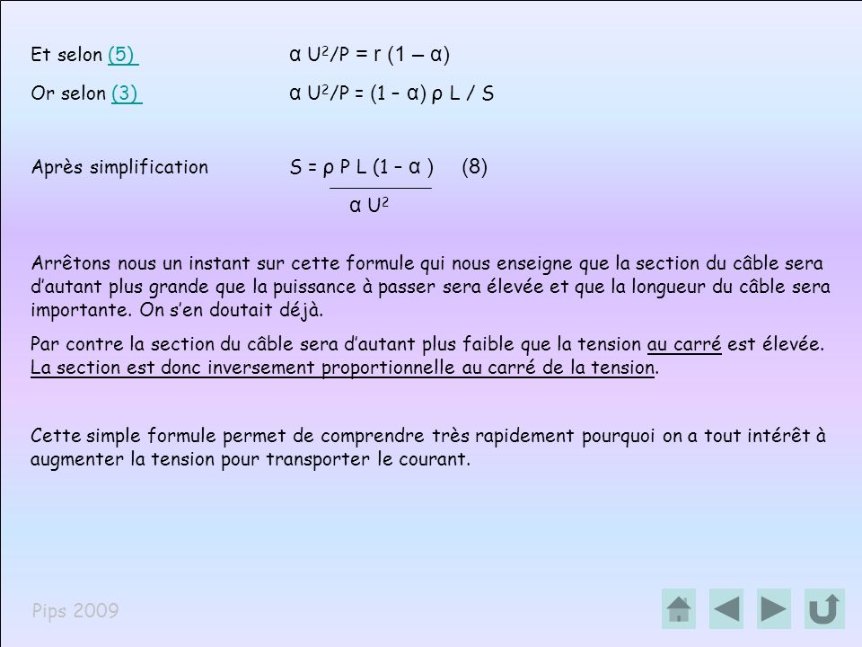 α U2 Et selon (5) α U2/P = r (1 – α)