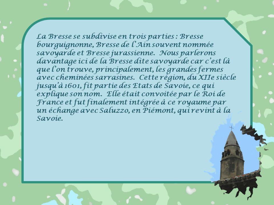 La Bresse se subdivise en trois parties : Bresse bourguignonne, Bresse de l'Ain souvent nommée savoyarde et Bresse jurassienne.