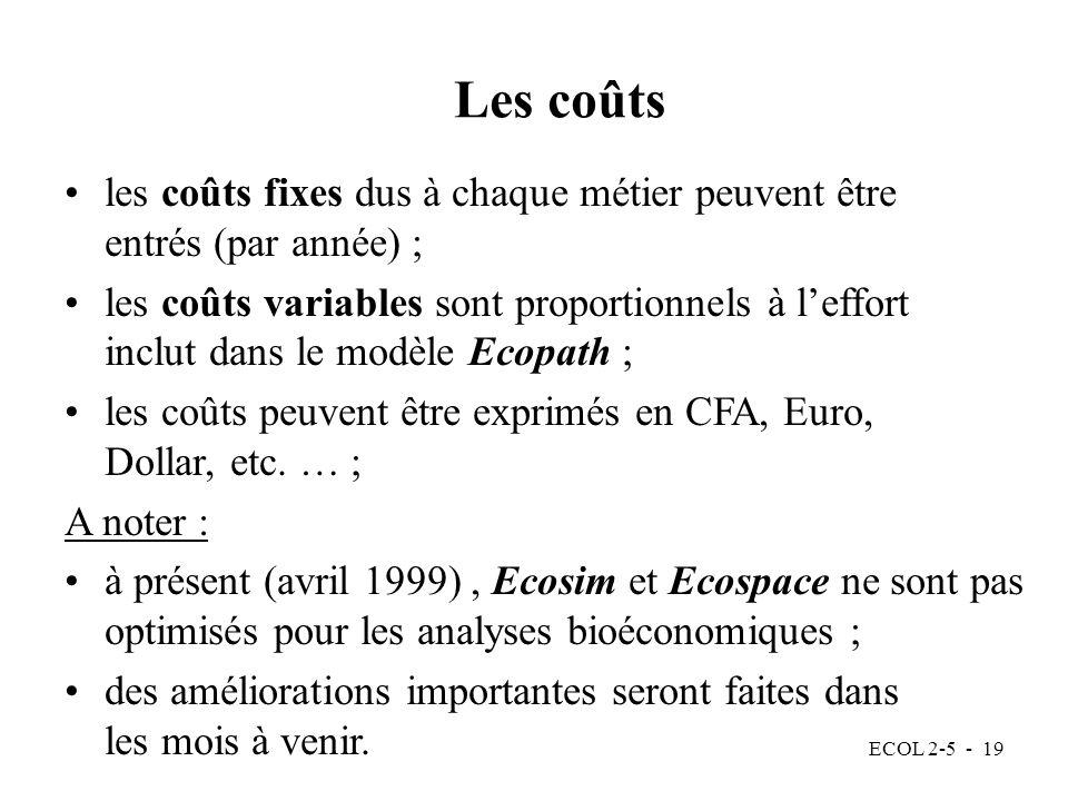 Les coûts les coûts fixes dus à chaque métier peuvent être entrés (par année) ;