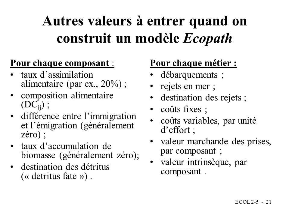 Autres valeurs à entrer quand on construit un modèle Ecopath
