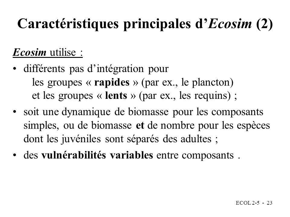 Caractéristiques principales d'Ecosim (2)